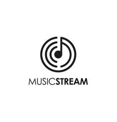 geometric music note wireless streaming logo vector image