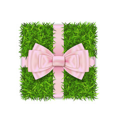 gift box 3d green grass box top view pink ribbon vector image