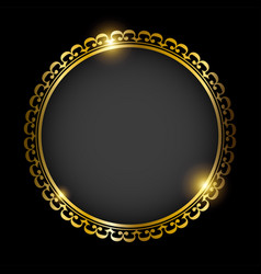 golden round frame isolated on black background vector image