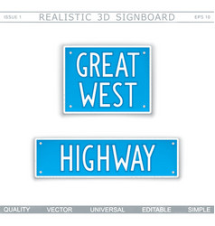 great west highway road sign vector image