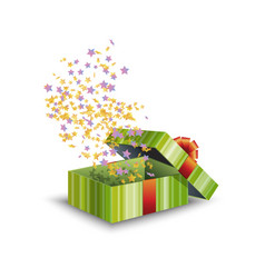 green gift box and confetti isolated on white vector image