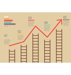 Growth chart with ladders infographic vector