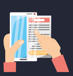 Hands with smartphone and important document vector