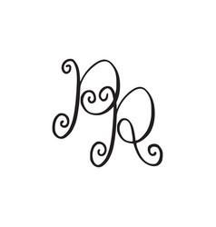 Handwritten monogram pr icon vector