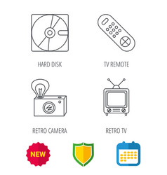 hard disk retro camera and tv remote icons vector image