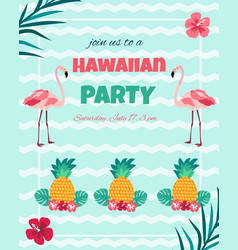 hawaiian nvitation with flamingo pineappletext vector image
