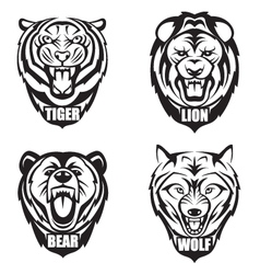 Heads of wild animals vector