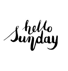 hello sunday postcard ink modern vector image