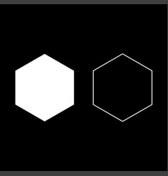 Hexagon icon set white color flat style simple vector