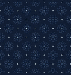Indigo blue christmas floral seamless vector