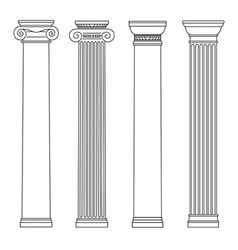 Isolated set of columns black and white line vector