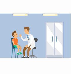 Kid on medical check-up with pediatrician in vector