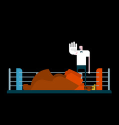 knockout in ring referee and boxer arbiter is vector image