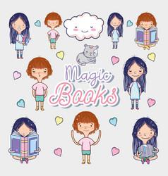 magic books cartoons vector image