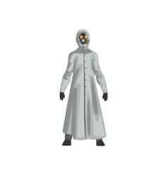 Man in protective suit and gas mask professional vector