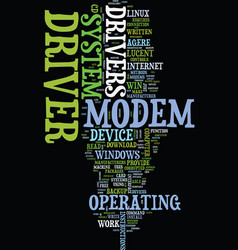 Modem driver text background word cloud concept vector