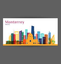 monterrey city architecture silhouette vector image