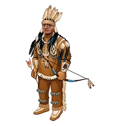Native American with bow and arrow vector