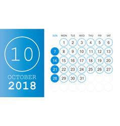 october 2018 calendar calendar planner design vector image