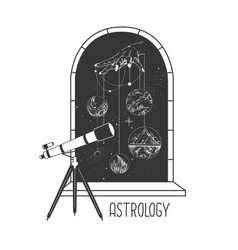 Open window silhouette with moon and telescope vector