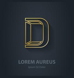 Outline Letter D elegant gold font Template for vector