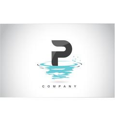 P letter logo design with water splash ripples vector