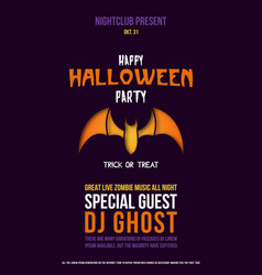 Paper cut flyer with bat for halloween vector