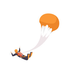 Paratrooper flying with a parachute skydiving vector