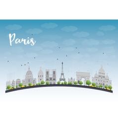 Paris skyline with grey landmarks vector