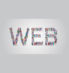 people crowd gathering in shape web word vector image