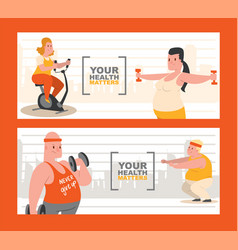 people with overweight doing exercises set of vector image