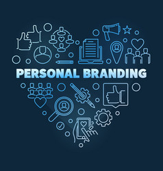 Personal branding blue linear heart vector