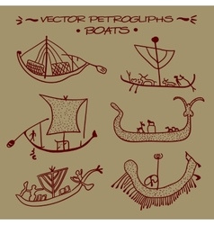 petroglyphs Boats vector image