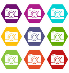 photo camera icons set 9 vector image
