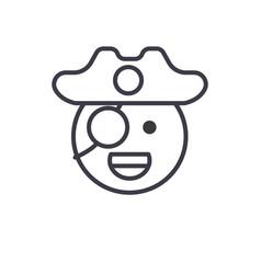 pirate emoji concept line editable concept vector image