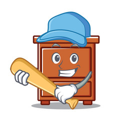 Playing baseball wooden drawer character cartoon vector