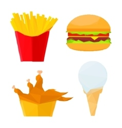 Polygonal fast food dishes with ice cream dessert vector