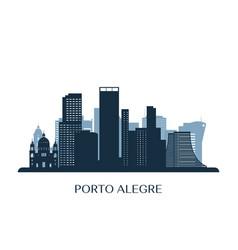 Porto alegre skyline monochrome silhouette vector