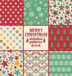 Retro Set Of Christmas And New Year Seamless vector