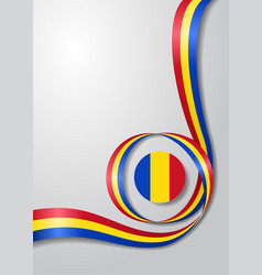Romanian flag wavy background vector