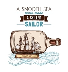 Sailboat In Bottle Color Concept vector