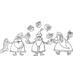 santa claus group coloring page vector image