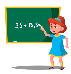 schoolgirl solves a mathematical problem at the vector image