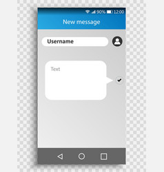 screen smartphone with sms messenger vector image