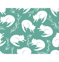 seamless pattern with cats and a grass vector image