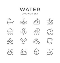 set line icons of water vector image