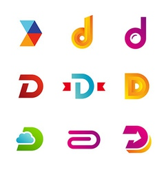 Set of letter D logo icons design template vector
