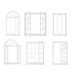 set of white realistic windows isolated vector image