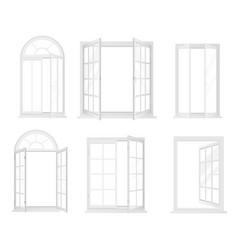 set white realistic windows isolated vector image