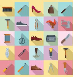 Shoe repair icons set flat style vector